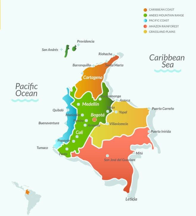 Mapa com cidades da Colômbia