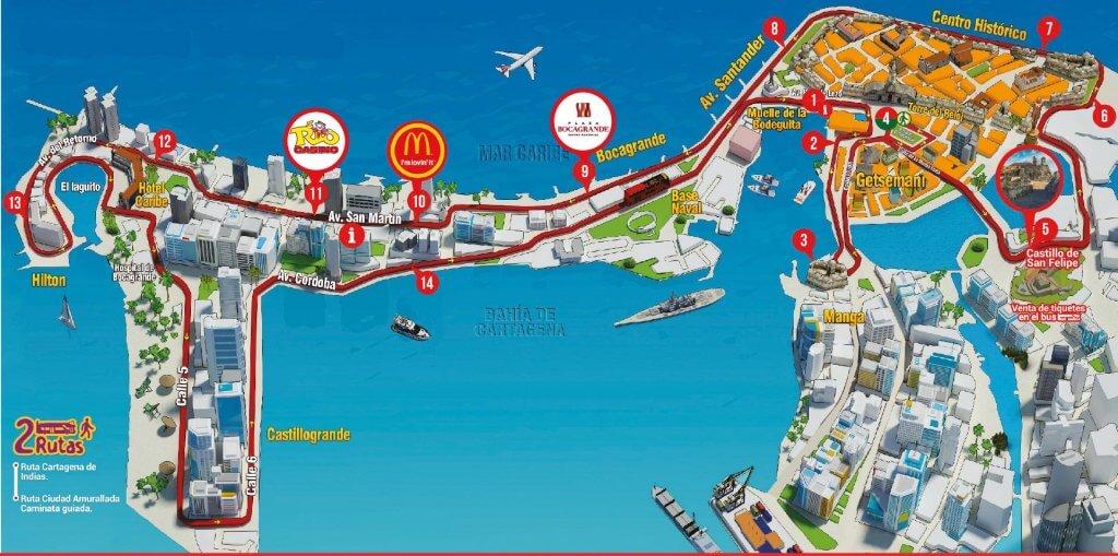 Rota do passeio de ônibus turístico CitySightSeeing em Cartagena