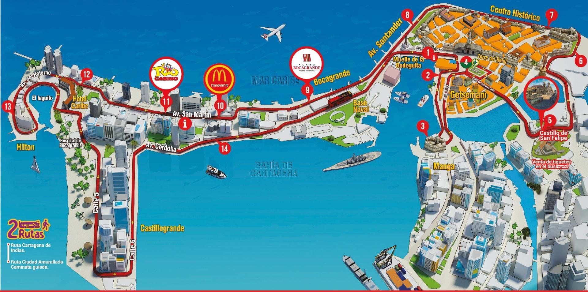 Rota do ônibus turístico de Cartagena
