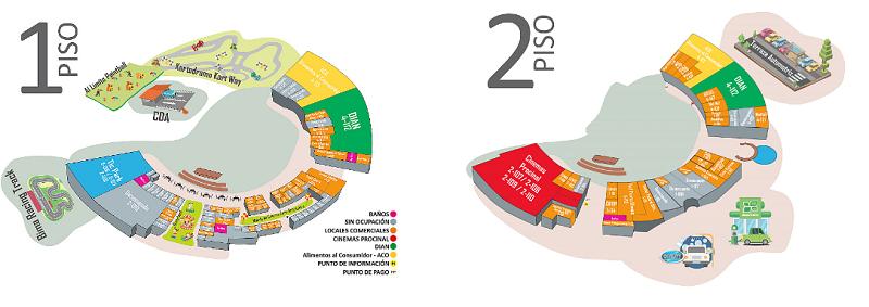 Mapa Outlet Centro Comercial y recreacional Bima em Bogotá
