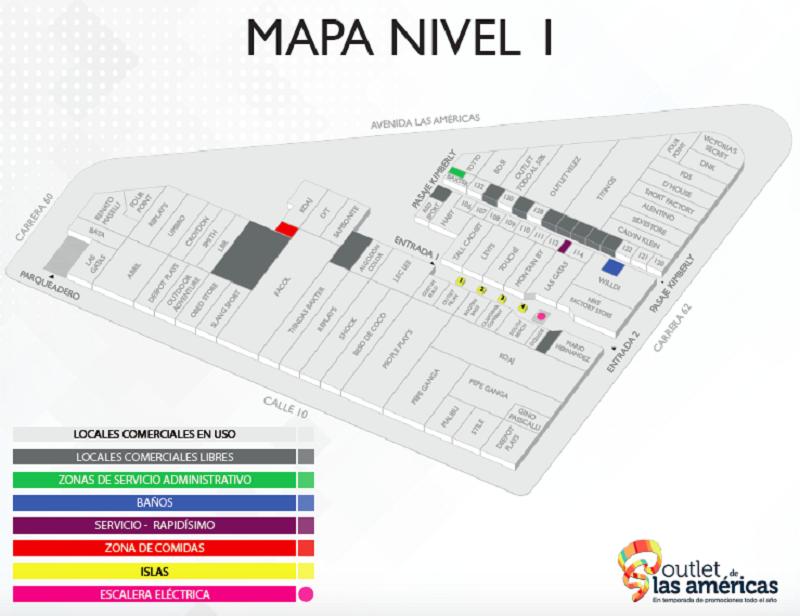 Mapa do Outlet de las Americas em Bogotá